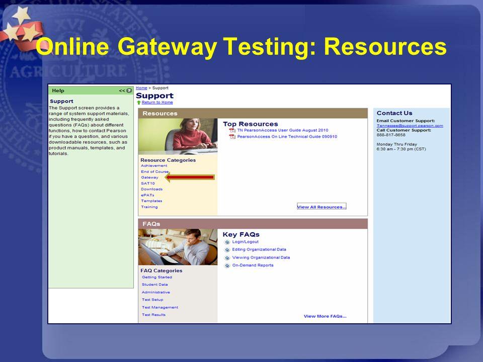 Online Gateway Testing: Resources