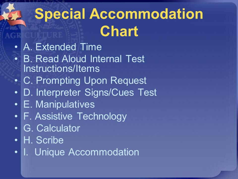 Special Accommodation Chart