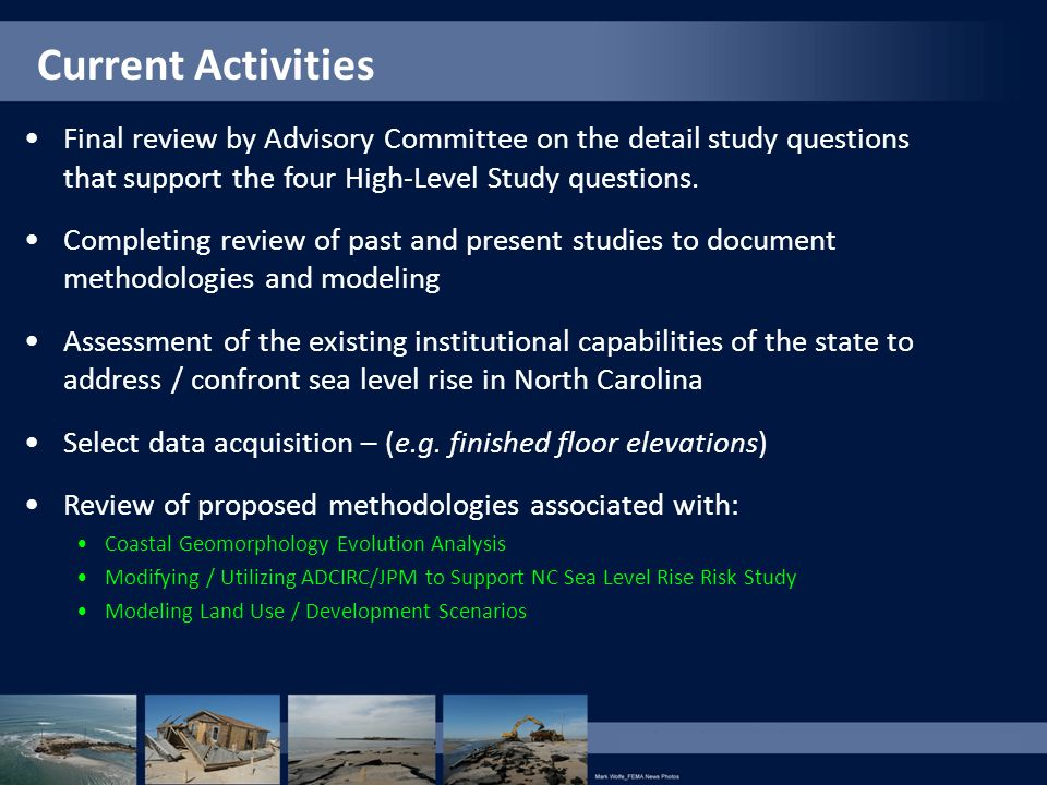 Current Activities Final review by Advisory Committee on the detail study questions that support the four High-Level Study questions.