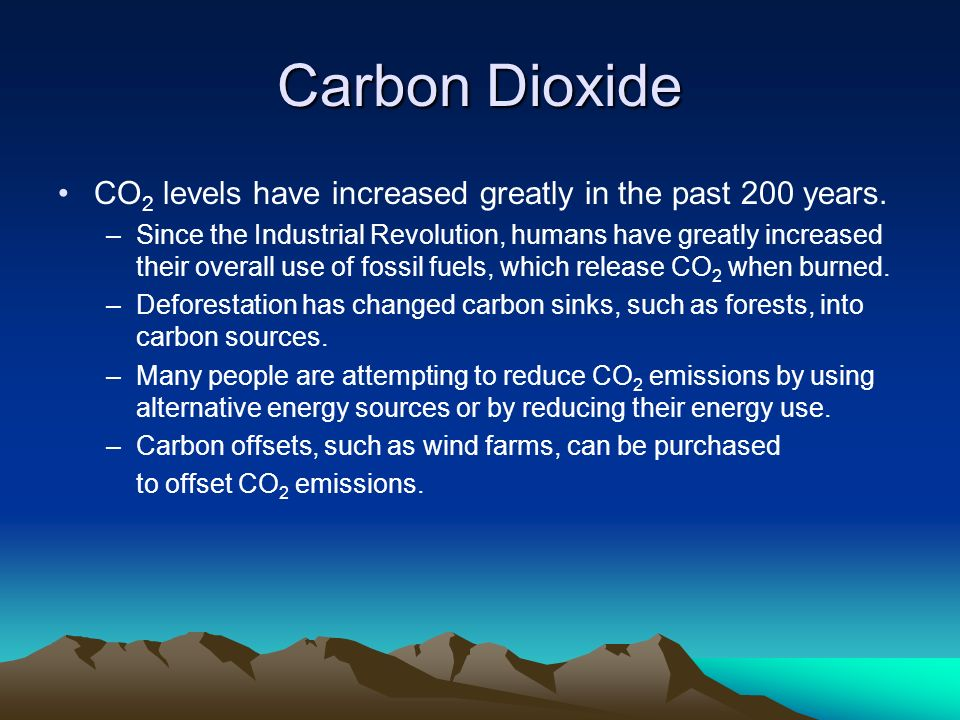 Carbon Dioxide CO2 levels have increased greatly in the past 200 years.