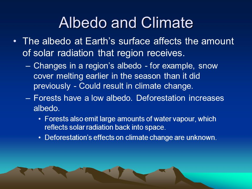 Albedo and Climate The albedo at Earth's surface affects the amount of solar radiation that region receives.