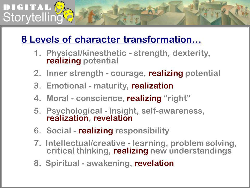 8 Levels of character transformation…