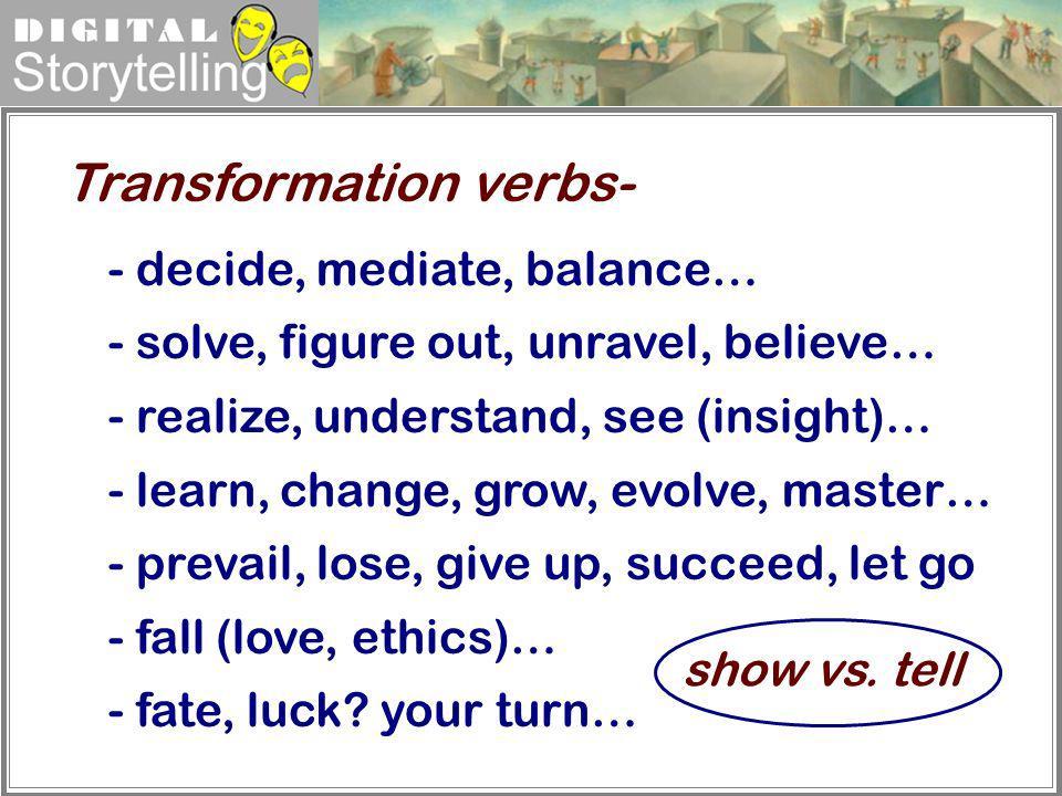 Transformation verbs-