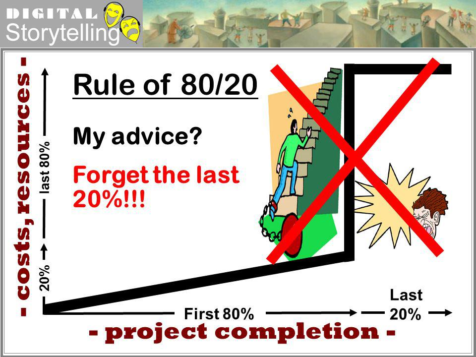 Rule of 80/20 - costs, resources - My advice Forget the last 20%!!!