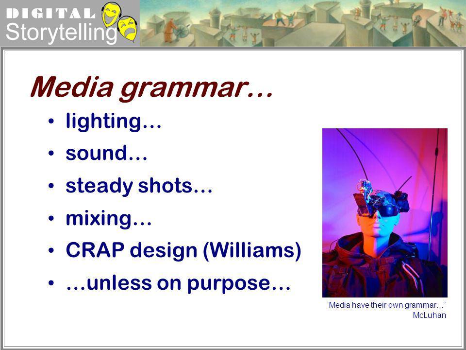 Media grammar… lighting… sound… steady shots… mixing…