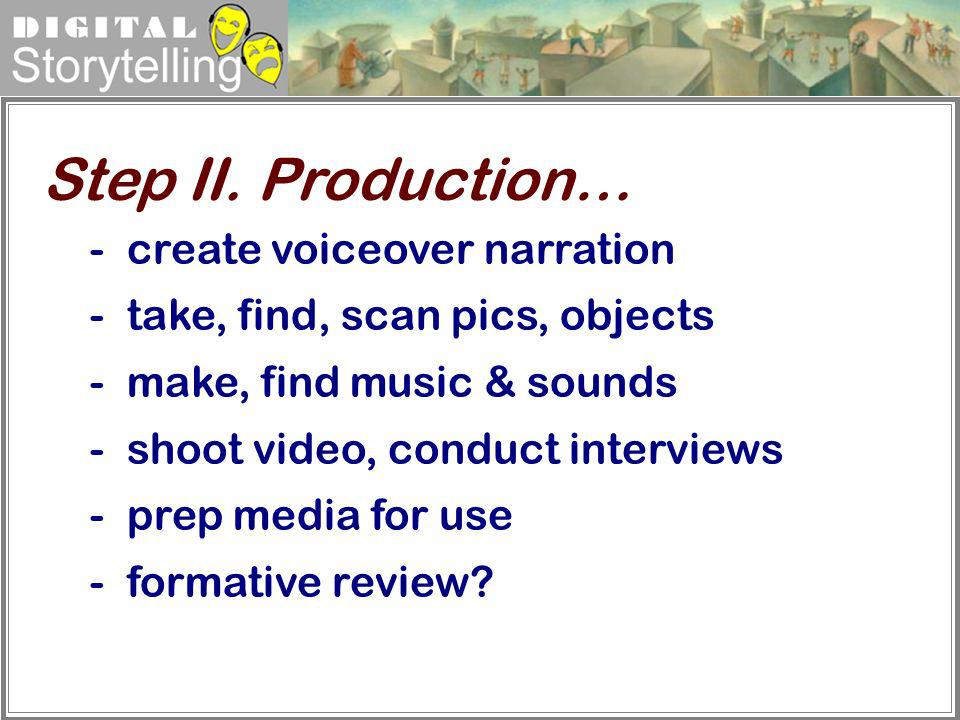 Step II. Production… create voiceover narration