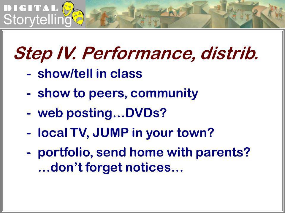 Step IV. Performance, distrib.