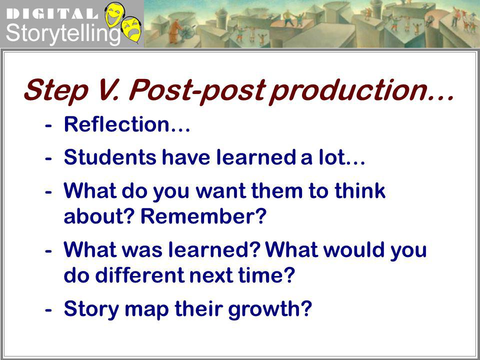 Step V. Post-post production…
