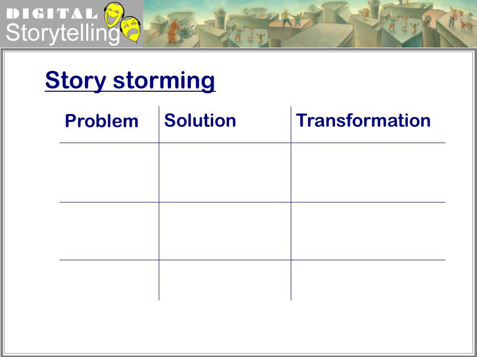 Story storming Problem Solution Transformation