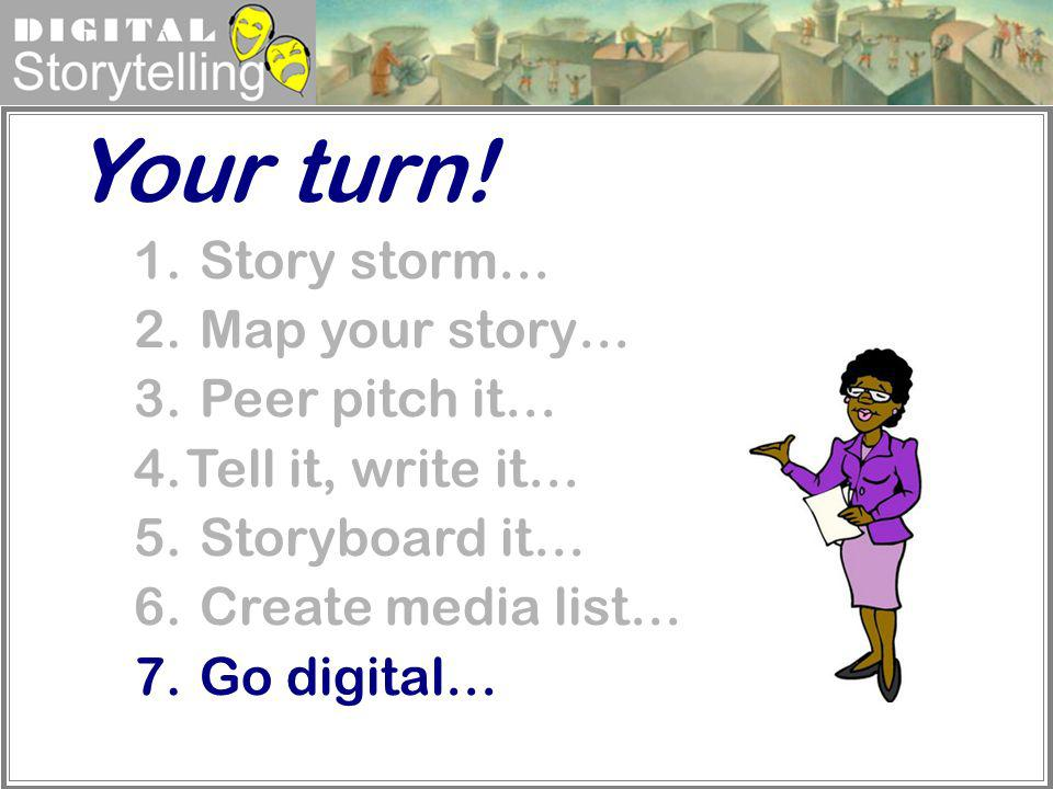 Your turn! Story storm… Map your story… Peer pitch it…