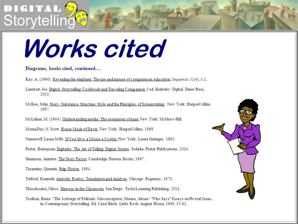 Works cited Diagrams, books cited, continued…