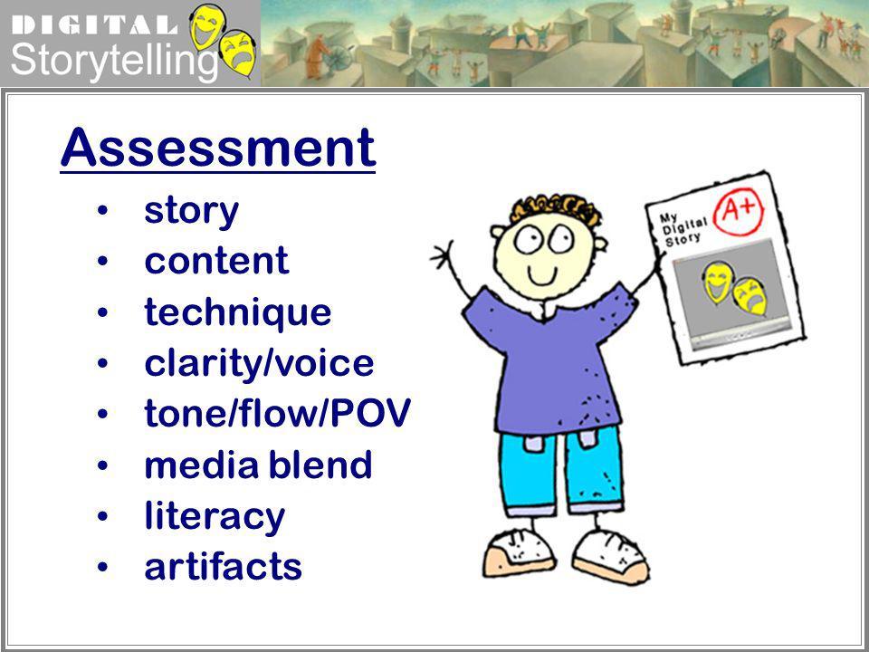 Assessment story content technique clarity/voice tone/flow/POV