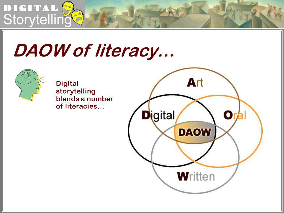 DAOW of literacy… Digital storytelling blends a number of literacies…
