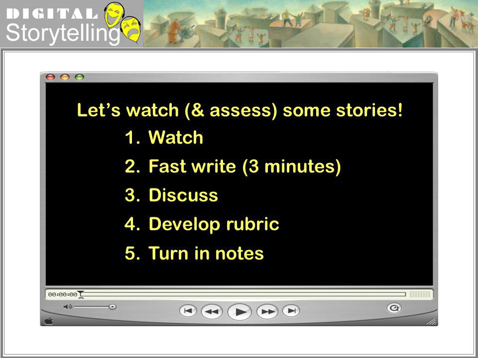 Let's watch (& assess) some stories!
