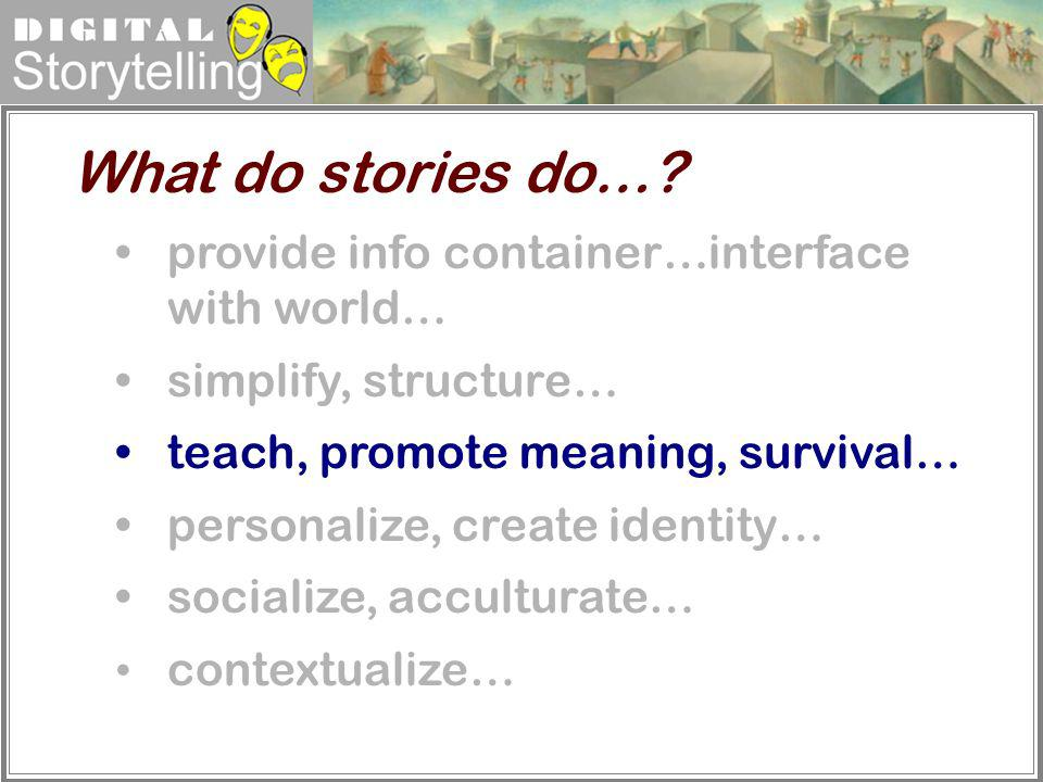 What do stories do… provide info container…interface with world…