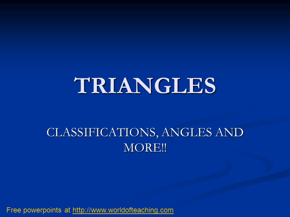 CLASSIFICATIONS, ANGLES AND MORE!!
