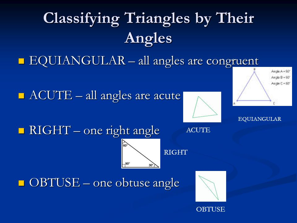 Classifying Triangles by Their Angles