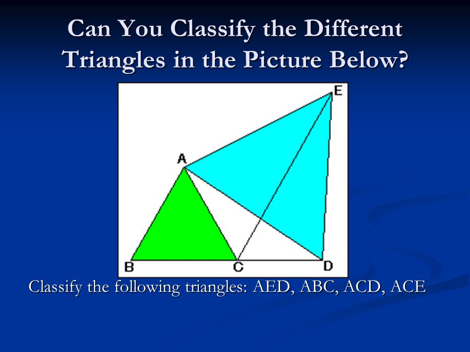 Can You Classify the Different Triangles in the Picture Below