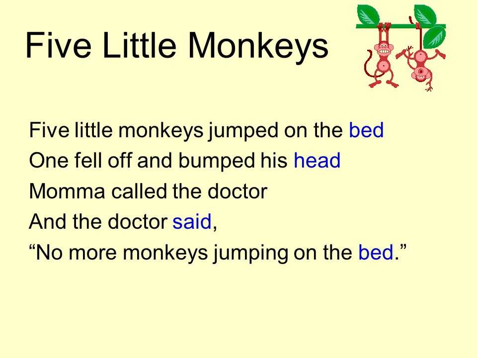 Five Little Monkeys Five little monkeys jumped on the bed