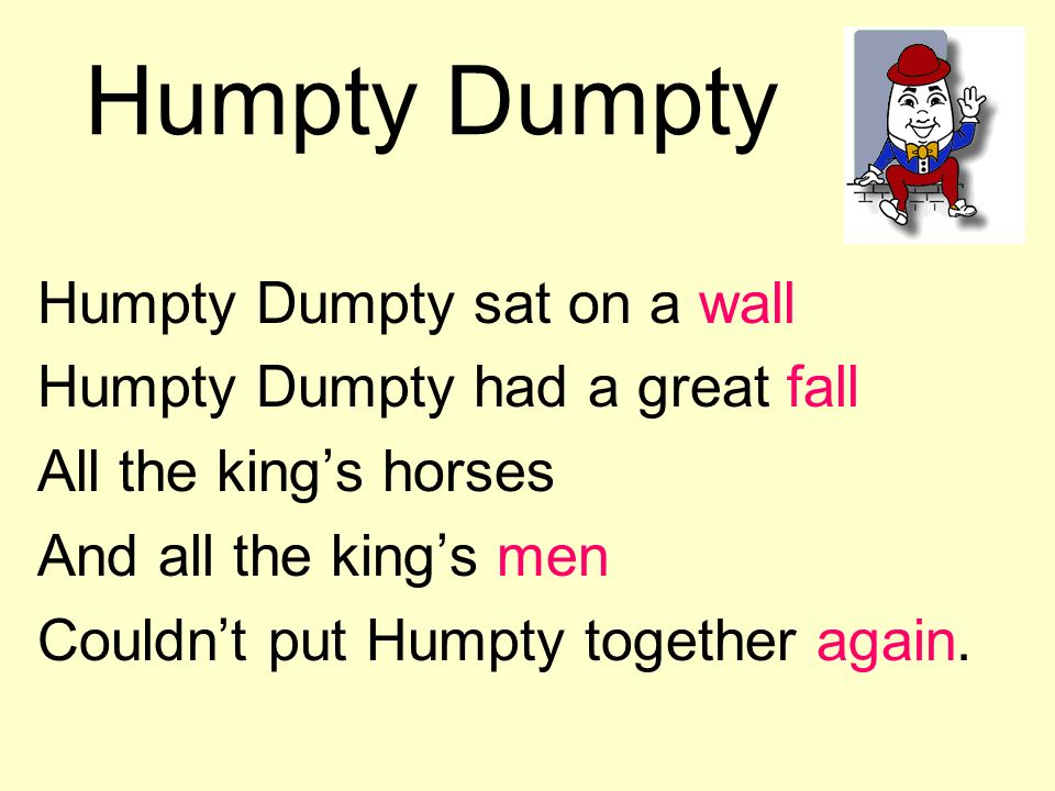 Humpty Dumpty Humpty Dumpty sat on a wall