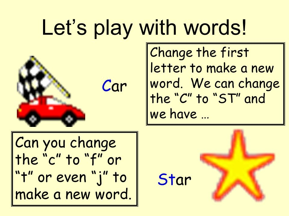 Let's play with words! Car Star