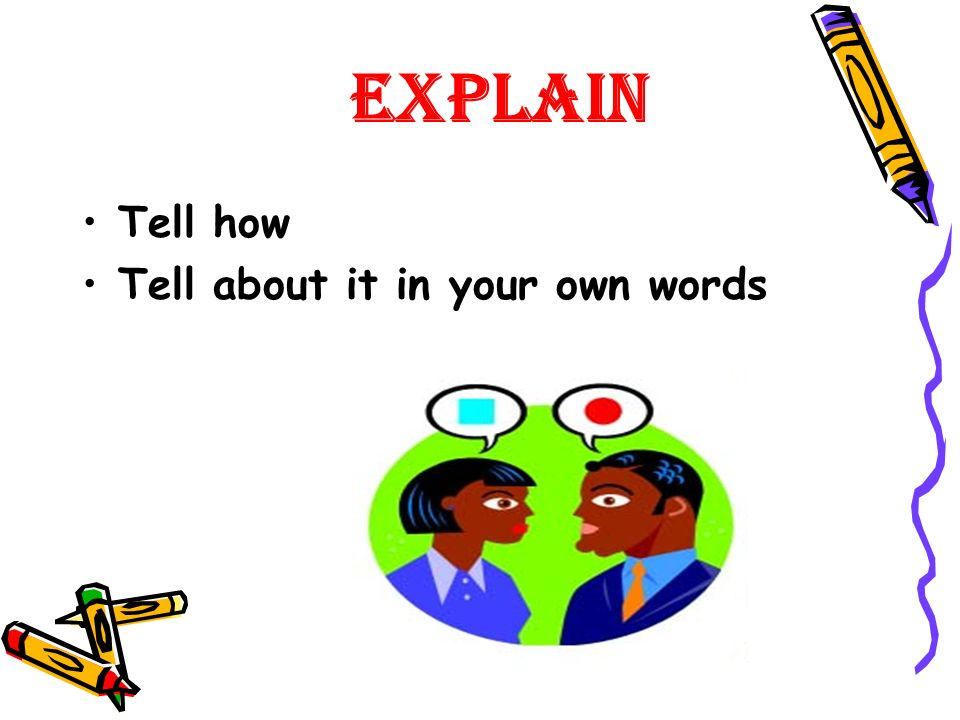 Explain Tell how Tell about it in your own words