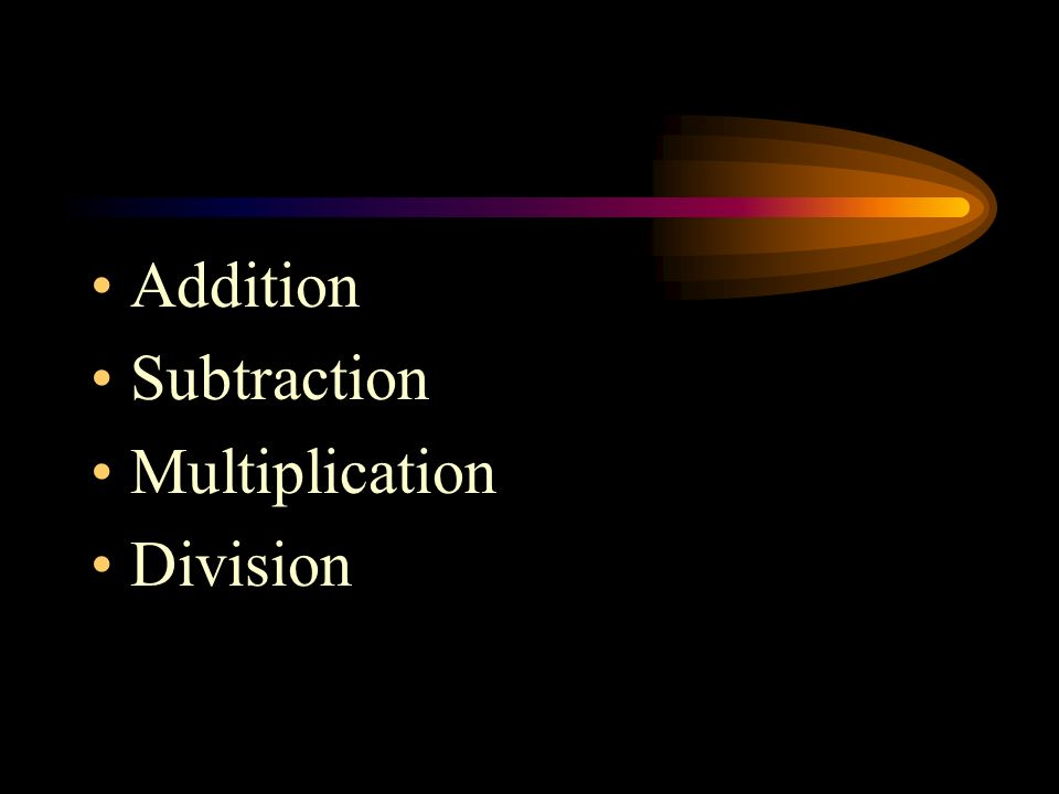 Addition Subtraction Multiplication Division
