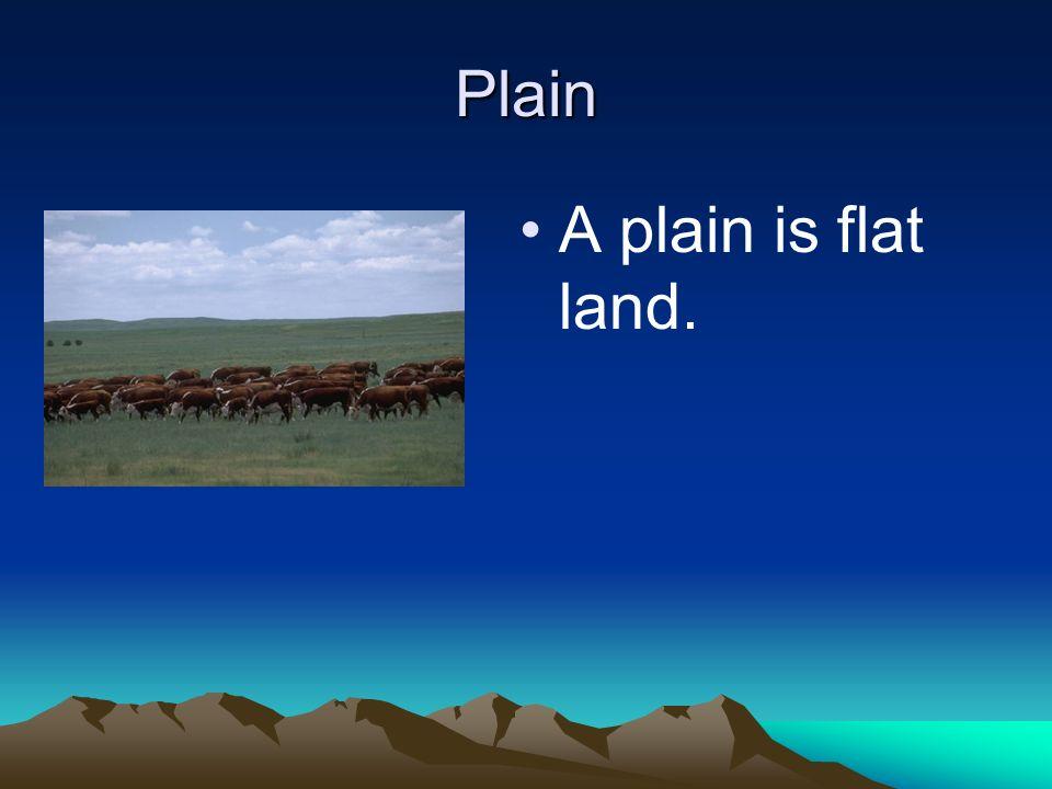 Plain A plain is flat land.