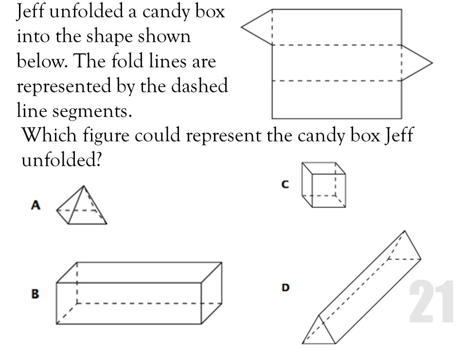 Jeff unfolded a candy box into the shape shown below