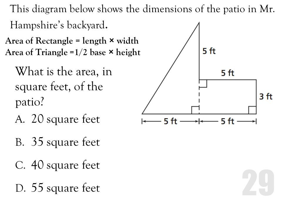 What is the area, in square feet, of the patio