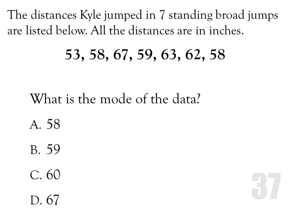 53, 58, 67, 59, 63, 62, 58 What is the mode of the data 58 59 60 67