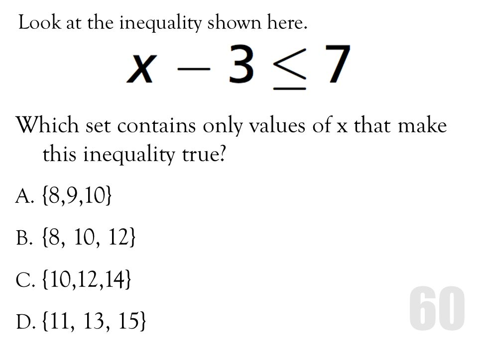 Look at the inequality shown here.