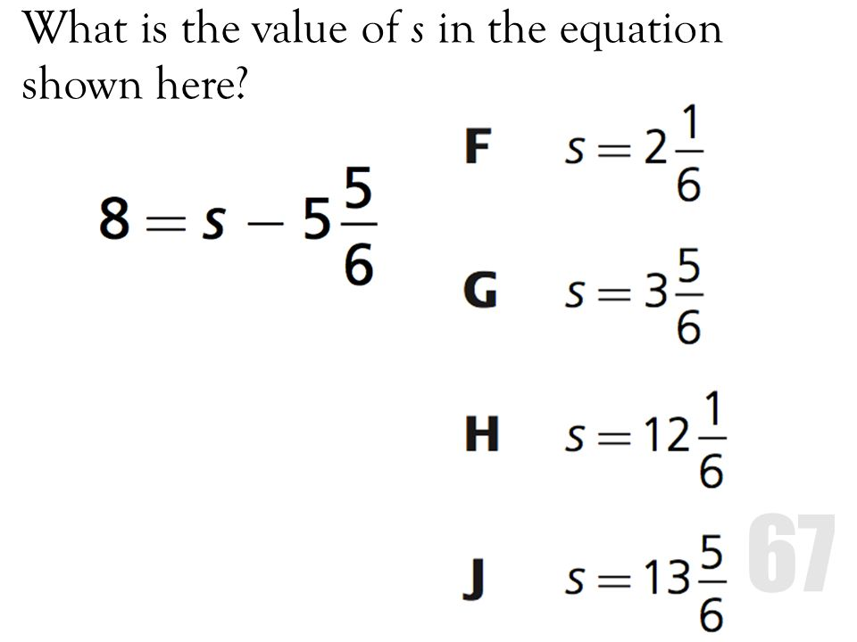 What is the value of s in the equation shown here