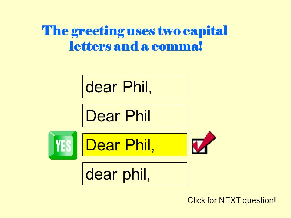 The greeting uses two capital