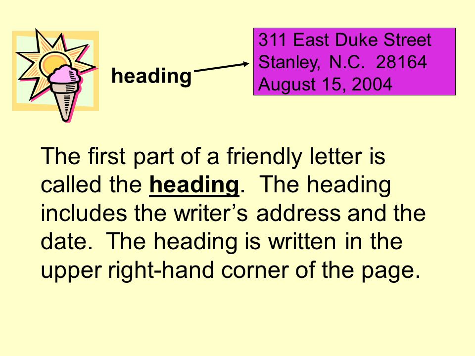 311 East Duke Street Stanley, N.C. 28164. August 15, 2004. heading.