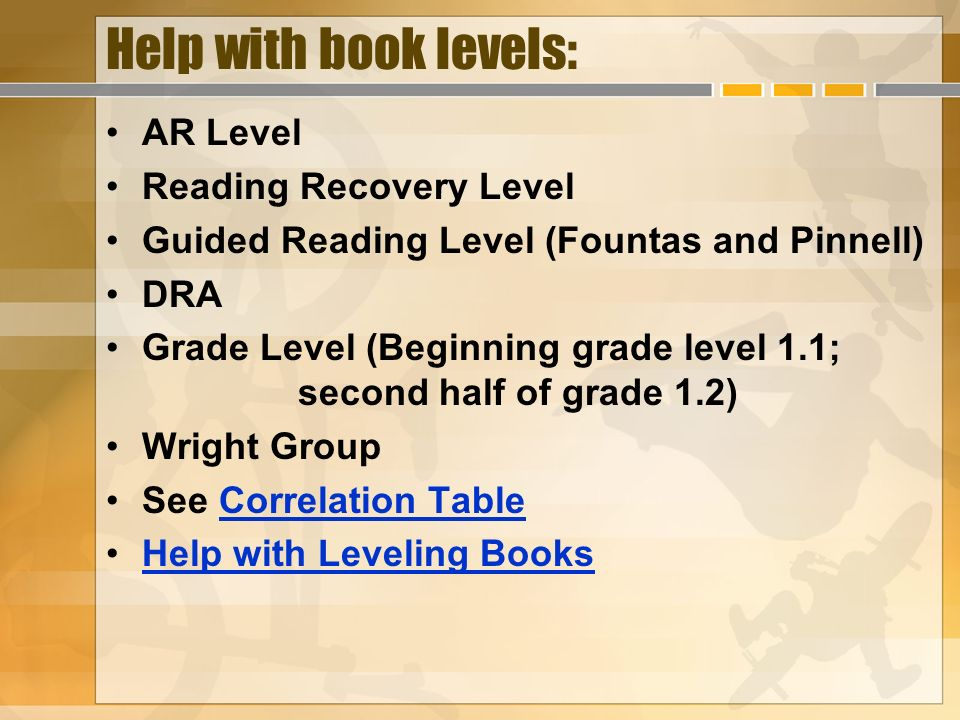 Help with book levels: AR Level Reading Recovery Level