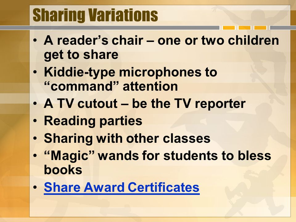 Sharing Variations A reader's chair – one or two children get to share