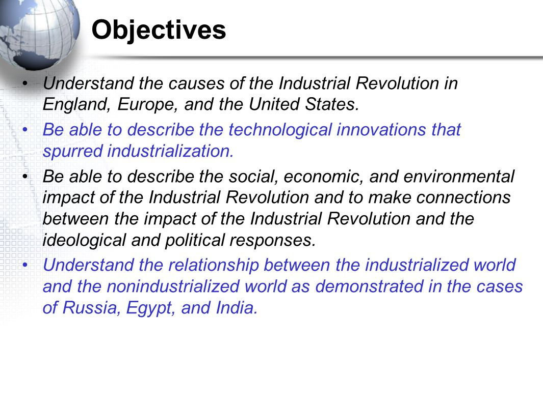 ap world history chapter 22 the early industrial revolution outline