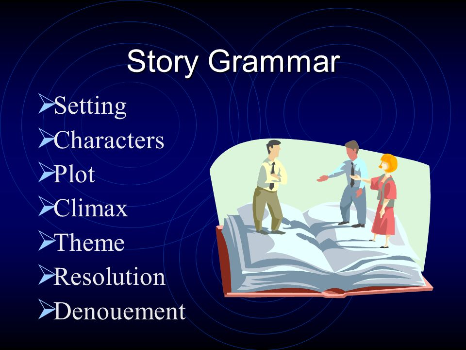 Story Grammar Setting Characters Plot Climax Theme Resolution