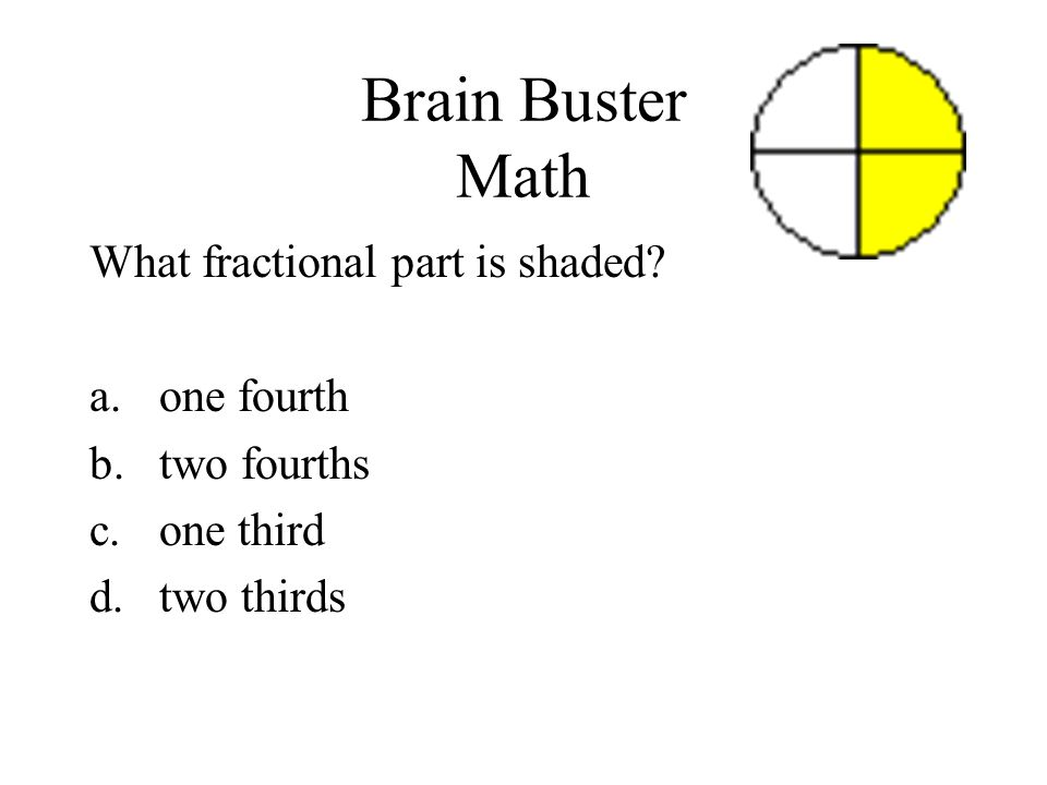 Brain Buster Math What fractional part is shaded one fourth