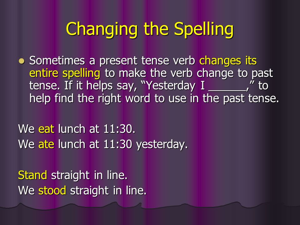 Changing the Spelling