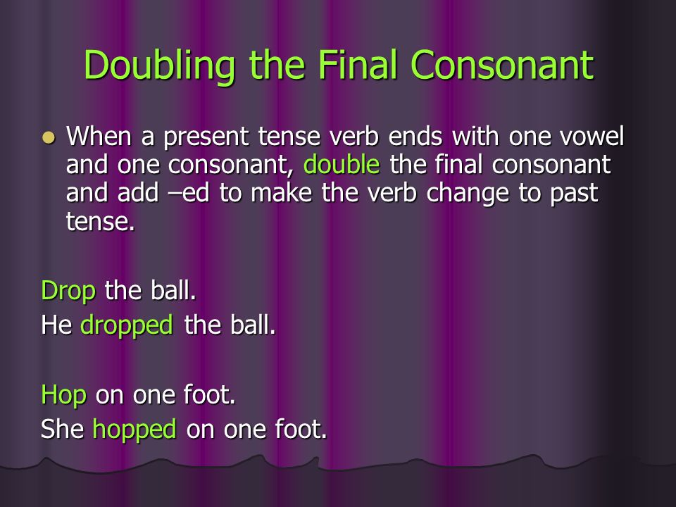 Doubling the Final Consonant