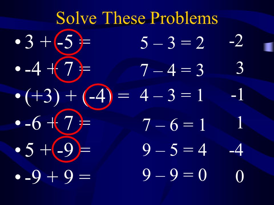 3 + -5 = -4 + 7 = (+3) + (-4) = -6 + 7 = 5 + -9 = -9 + 9 =