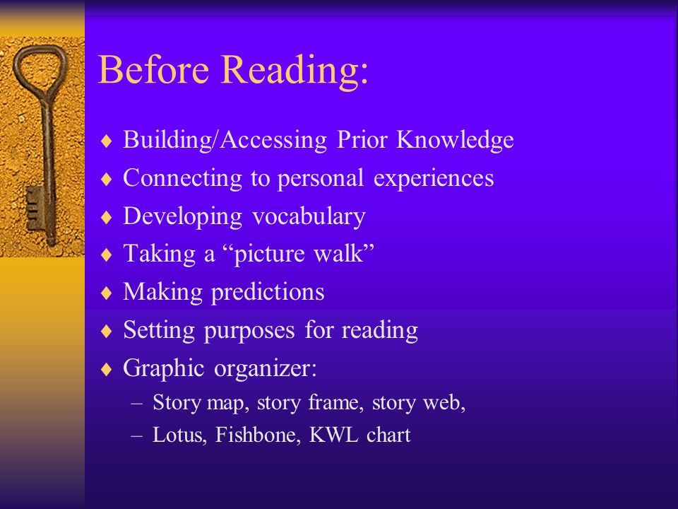 Before Reading: Building/Accessing Prior Knowledge