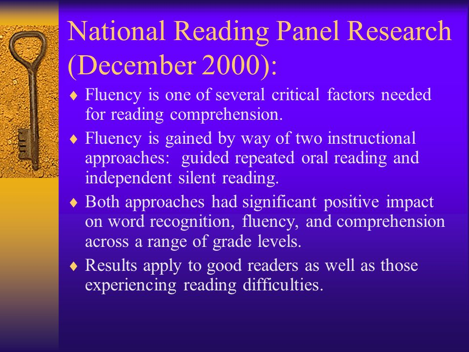 National Reading Panel Research (December 2000):