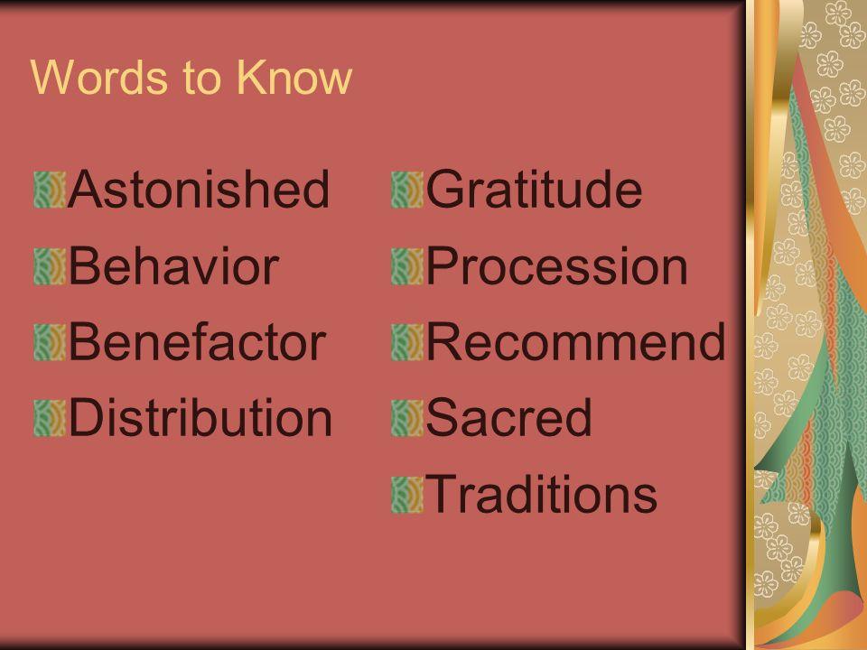 Astonished Behavior Benefactor Distribution Gratitude Procession