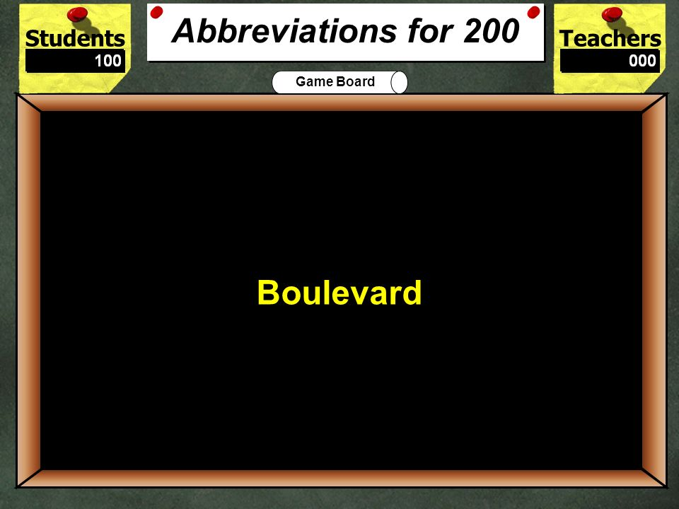 Blvd. is the correct abbreviation for what word