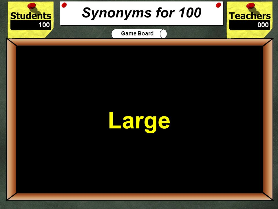 Synonyms for 100 Large 100 The synonym for big is: Large or Small