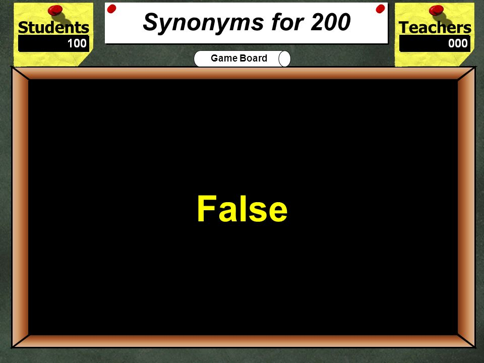 200 False Synonyms for 200 True or False: