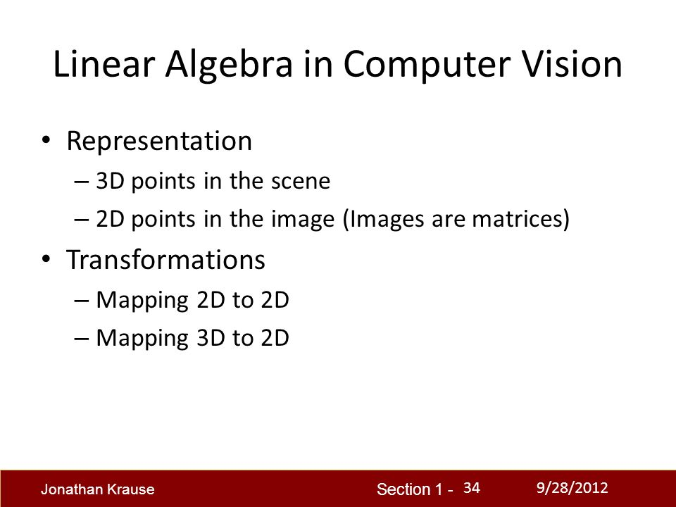 computer linear algebra Algebra, and how to use them to think about computational problems arising in  computer science linear algebra provides concepts that are crucial to many.